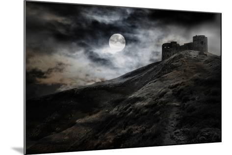 Night, Moon And Dark Fortress-fotosutra.com-Mounted Photographic Print