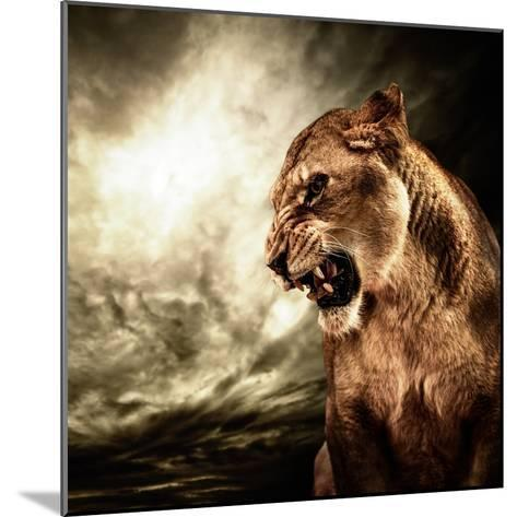 Roaring Lioness Against Stormy Sky-NejroN Photo-Mounted Photographic Print