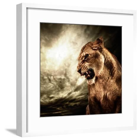Roaring Lioness Against Stormy Sky-NejroN Photo-Framed Art Print