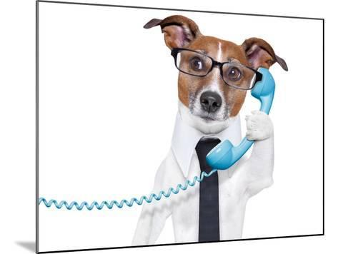 Business Dog On The Phone-Javier Brosch-Mounted Photographic Print