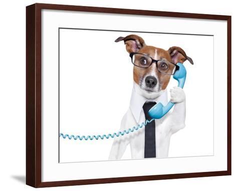 Business Dog On The Phone-Javier Brosch-Framed Art Print