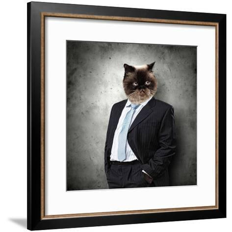 Funny Fluffy Cat In A Business Suit Businessman. Collage-Sergey Nivens-Framed Art Print