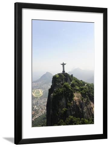 Statue Of Corcovado Cristo Redentor In Rio De Janeiro Brazil, City Of Games Os 2016-mangostock-Framed Art Print