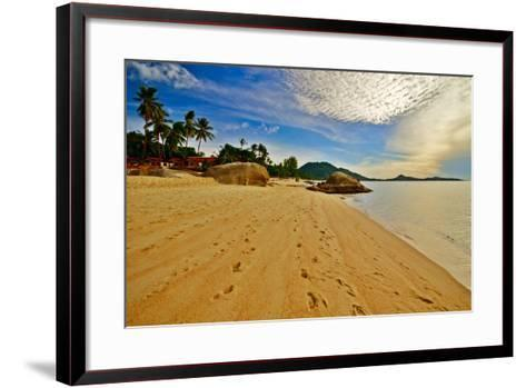 Deserted Morning Beach With Golden Sand And Footprints-vitalytitov-Framed Art Print