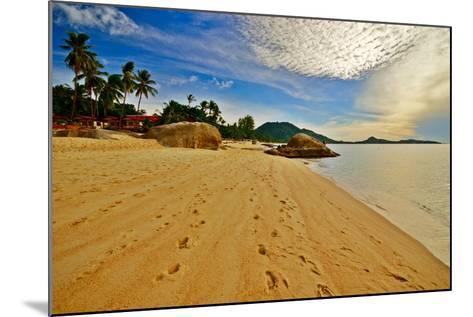 Deserted Morning Beach With Golden Sand And Footprints-vitalytitov-Mounted Photographic Print