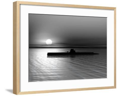 Submarine On A Background Of A Sunset On The Sea-oneo-Framed Art Print