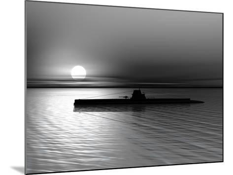 Submarine On A Background Of A Sunset On The Sea-oneo-Mounted Photographic Print