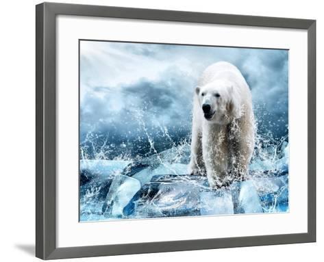 White Polar Bear Hunter On The Ice In Water Drops-yuran-78-Framed Art Print