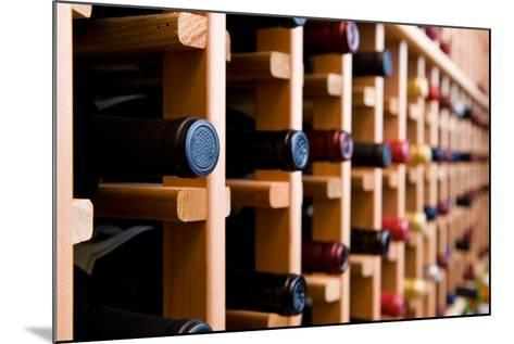Wine Bottles In Cellar-HdcPhoto-Mounted Photographic Print