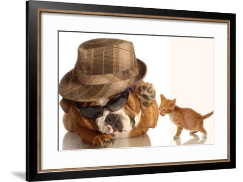 Bulldog Gangster With Kitten-Willee Cole-Framed Art Print