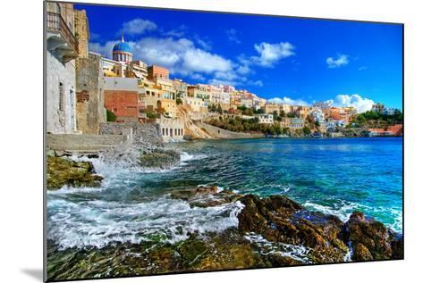 Beautiful Greek Islands Series - Syros-Maugli-l-Mounted Photographic Print