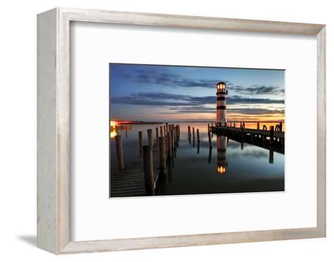 Lighthouse At Night-TomasSereda-Framed Art Print