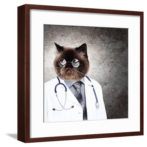 Funny Fluffy Cat Doctor In A Robe And Glasses. Collage-Sergey Nivens-Framed Art Print