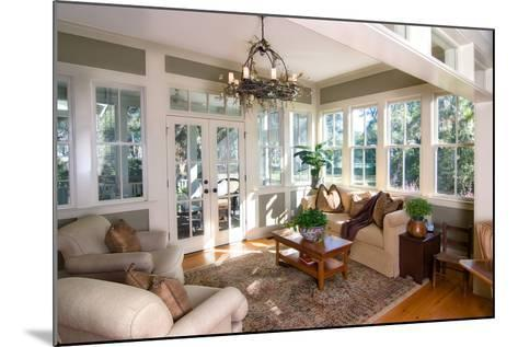 Furnished Sunroom with Large Windows and Glass Doors-Wollwerth Imagery-Mounted Photographic Print