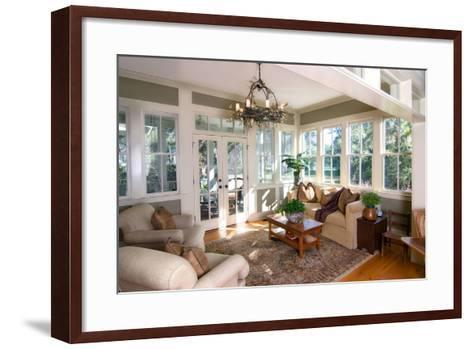 Furnished Sunroom with Large Windows and Glass Doors-Wollwerth Imagery-Framed Art Print