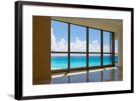 View of Tropical Beach Through Hotel Windows-nfsphoto-Framed Art Print