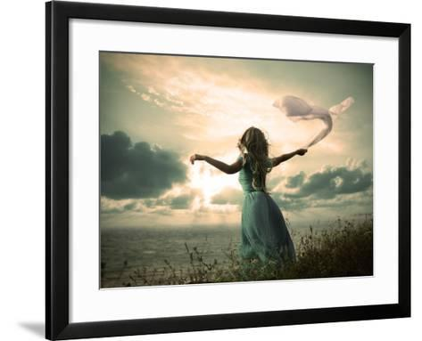 Woman in Turquoise Dress with Fabric at Sea-brickrena-Framed Art Print