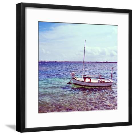 Picture of a Fishing Boat in Estany Des Peix Lagoon, in Formentera, Balearic Islands, Spain-nito-Framed Art Print