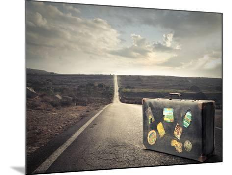 Vintage Suitcase on a Deserted Road-olly2-Mounted Photographic Print