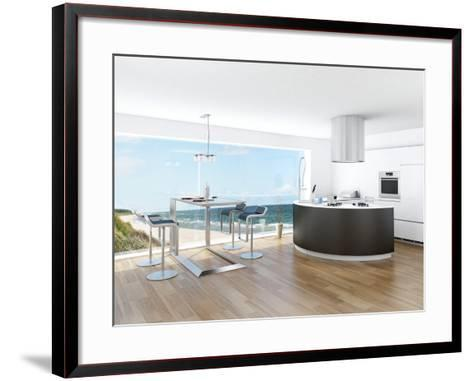 Modern Luxury Kitchen Interior with Fantastic Seascape View-PlusONE-Framed Art Print