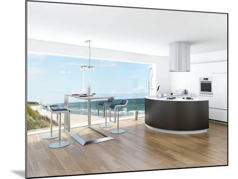 Modern Luxury Kitchen Interior with Fantastic Seascape View-PlusONE-Mounted Photographic Print