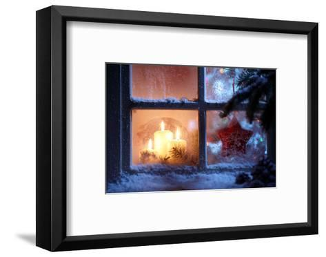Frosted Window with Christmas Decoration-Sofiaworld-Framed Art Print