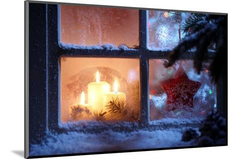 Frosted Window with Christmas Decoration-Sofiaworld-Mounted Photographic Print
