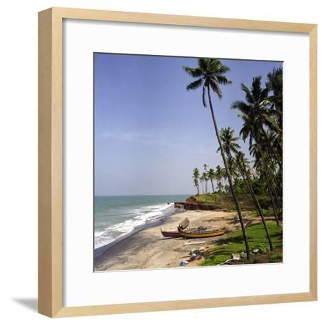 A Beach in Kerala, India, with Two Small Fishing Boats-PaulCowan-Framed Art Print