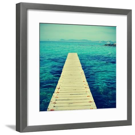 Boardwalk in Ses Illetes Beach in Formentera, Balearic Islands-nito-Framed Art Print