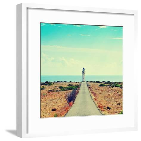 View of Beacon Far De Barbaria in Formentera, Balearic Islands, Spain, with a Retro Effect-nito-Framed Art Print