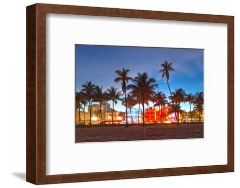 Miami Beach Florida Hotels And Restaurants At Sunset-Fotomak-Framed Art Print