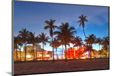 Miami Beach Florida Hotels And Restaurants At Sunset-Fotomak-Mounted Photographic Print