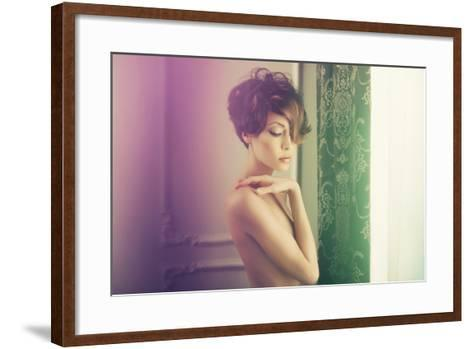 Fashion Art Photo of Young Sensual Lady in Classical Interior-George Mayer-Framed Art Print