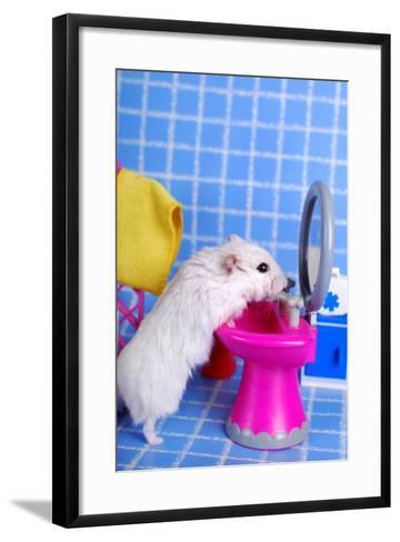 Hamster In The Bathroom- teresaterra-Framed Art Print
