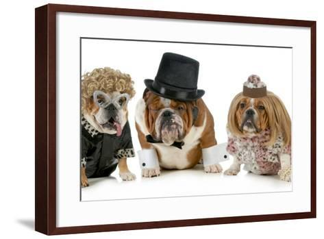 Males Bulldog With Two Females All Dressed In Formal Clothing Isolated On White Background-Willee Cole-Framed Art Print