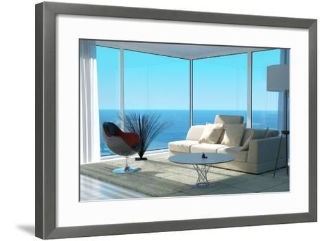 A Sunny Living Room Interior-PlusONE-Framed Art Print