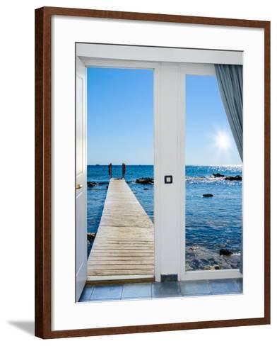 Sea View from the Pier-Dmitry Bruskov-Framed Art Print