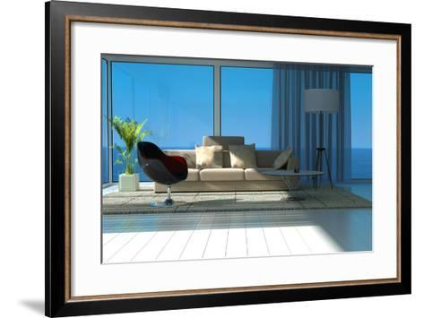A Sunny Living Room with Large Windows-PlusONE-Framed Art Print