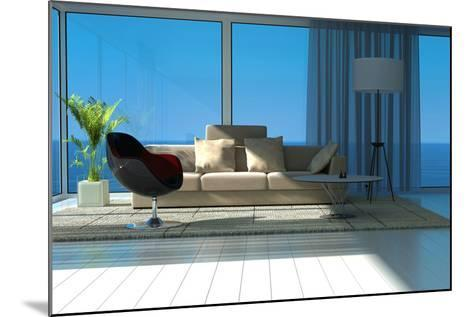 A Sunny Living Room with Large Windows-PlusONE-Mounted Photographic Print