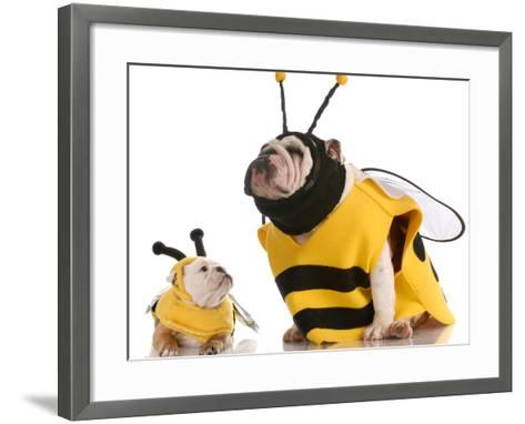 Bulldog Bee Mother And Daughter-Willee Cole-Framed Art Print