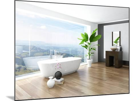 Modern Bathroom Interior with White Bathtub Against Huge Window with Landscape View-PlusONE-Mounted Photographic Print