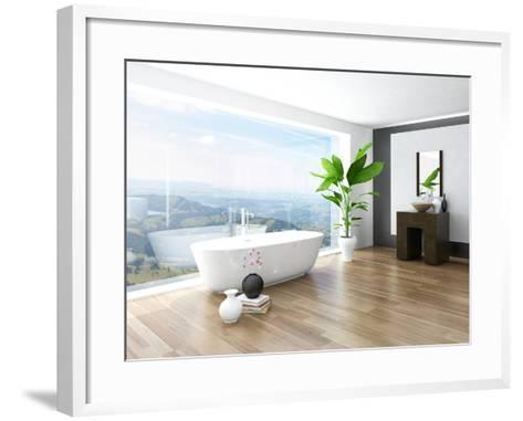 Modern Bathroom Interior with White Bathtub Against Huge Window with Landscape View-PlusONE-Framed Art Print