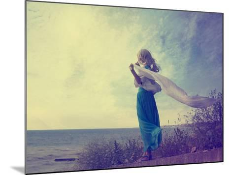Lonely Woman in Turquoise Dress with Waving Scarf-brickrena-Mounted Photographic Print