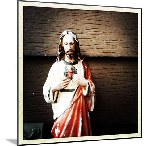 Weathered Statue of Jesus-pablo guzman-Mounted Photographic Print