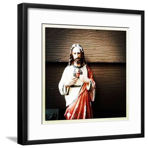 Weathered Statue of Jesus-pablo guzman-Framed Art Print