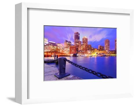 Financial District Of Boston, Massachusetts Viewed From Boston Harbor-SeanPavonePhoto-Framed Art Print