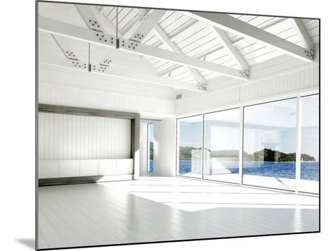 Empty White Room with Large Windows and Scenic View-PlusONE-Mounted Photographic Print