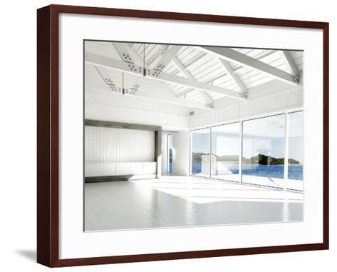 Empty White Room with Large Windows and Scenic View-PlusONE-Framed Art Print