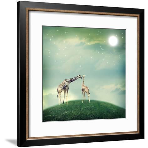Giraffes In Friendship Or Love Concept Image-Melpomene-Framed Art Print