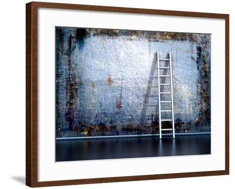 Dirty Grunge Wall With Wooden Ladder-ArchMan-Framed Art Print